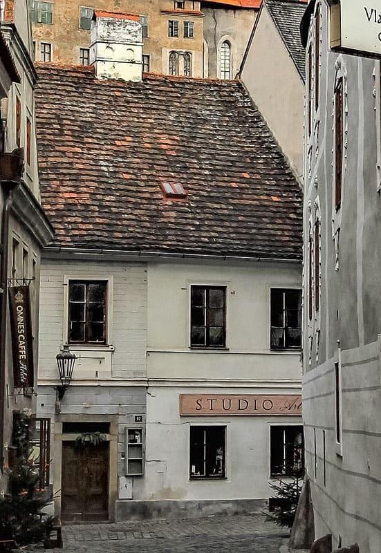 Ubytování a muzeum Český Krumlov - pohled z ulice