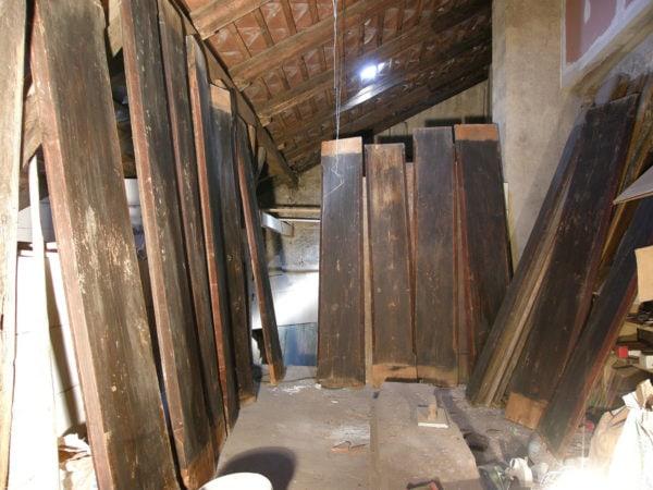 Fošny původního trámového stropu z Pivovarské ulice, Český Krumlov