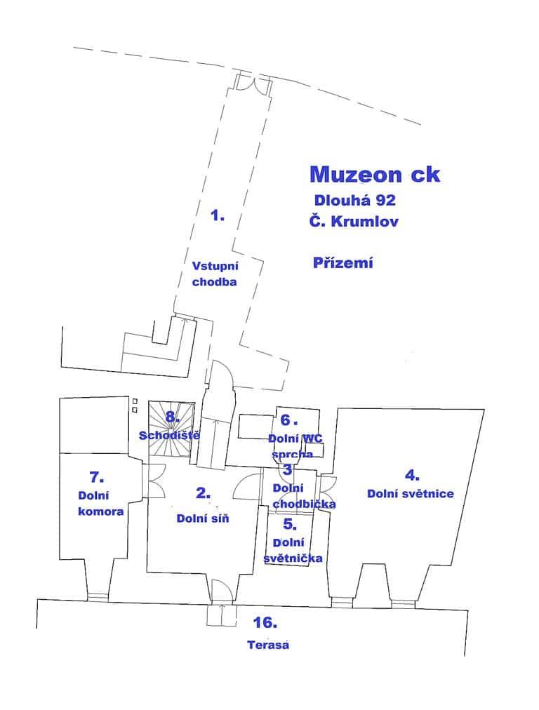 Muzeon c.k. - plánek přízemí